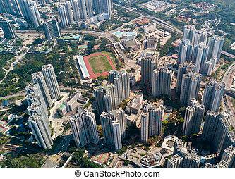 vista aérea, de, contorno, en, hong kong