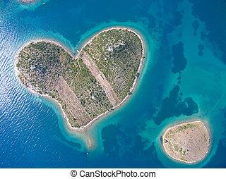 vista aérea, de, coração, dado forma, galesnjak, ilha, ligado, a, adriático, coast.