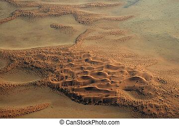 vista aérea, de, el, desierto de namib