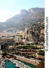 vista aérea, de, el, torre, apartamentos, y, puerto deportivo, en, mónaco