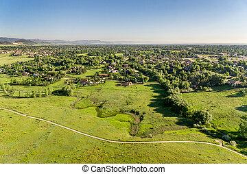 vista aérea, de, foothills, pradaria, em, colorado