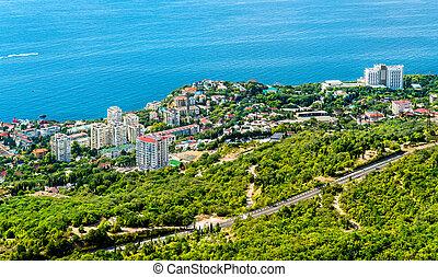 vista aérea, de, foros, um, cidade, por, a, mar negro, em,...