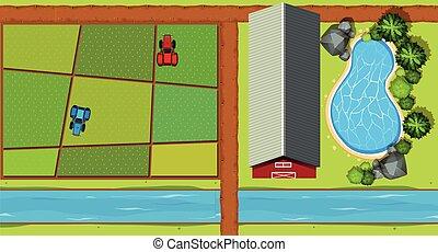 vista aérea, de, granja, con, tractores, y, cosechas