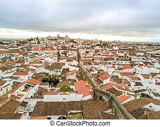 vista aérea, de, histórico, evora, em, alentejo, portugal