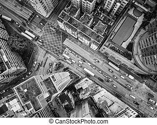 vista aérea, de, hong kong, céntrico
