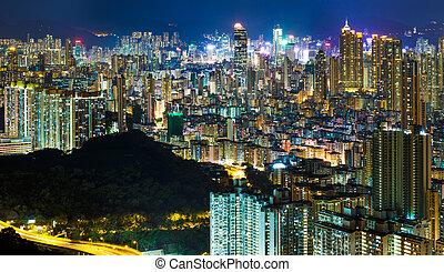 vista aérea, de, hong kong, ciudad