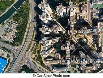 vista aérea, de, hong kong