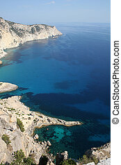 vista aérea, de, isla de ibiza, coastli