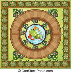 vista aérea, de, jardim