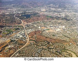 vista aérea, de, los angeles, cidade, usa.