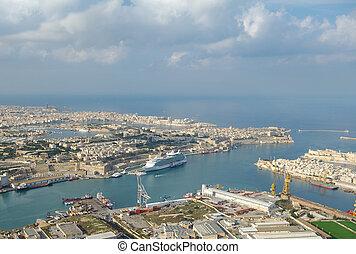vista aérea, de, magnífico, puerto, puerto, la, valletta
