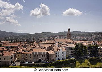 vista aérea, de, medieval, cidade velha, de, koper, city., aquilo, é, um, porto, cit