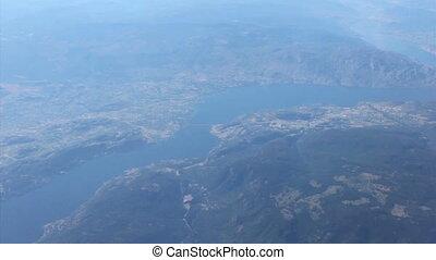 vista aérea, de, oeste, kelowna