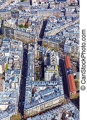 vista aérea, de, parís, calles, de, torre eiffel