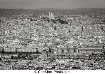 vista aérea, de, paris, com, louvre, e, coeur sacre, basílica