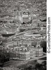 vista aérea, de, paris, telhados, com, catedral senhora notre, frança