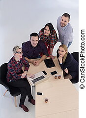 vista aérea, de, pessoas negócio, grupo, ligado, reunião