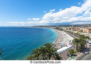vista aérea, de, praia, em, agradável