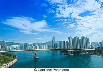 vista aérea, de, puerto de hong-kong