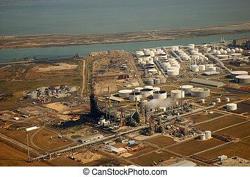 vista aérea, de, refinería, en, cuerpo christi, tejas