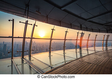 vista aérea, de, shanghai, paisagem, em, anoitecer