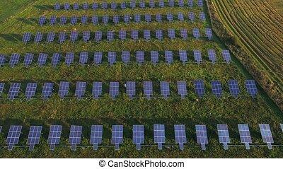 vista aérea, de, solar, planta