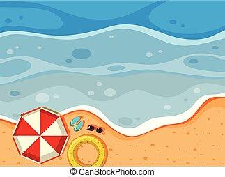 vista aérea, de, um, praia
