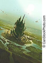 vista aérea, de, un, futurista, ciudad