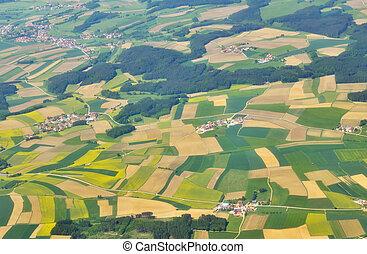 vista aérea, de, verde, campos, acima, alemanha