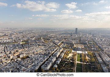 vista aérea, en, parís, ciudad, y, campo, de, marte