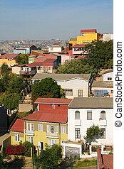 vista aérea, en, valparaiso, chile