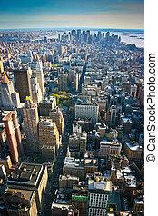 vista aérea, encima, manhattan más, nueva york