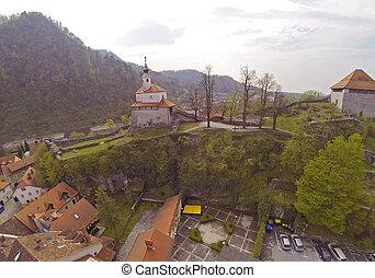 vista aérea, ligado, kamnik, em, slovenia