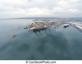vista aérea, ligado, koper, porto