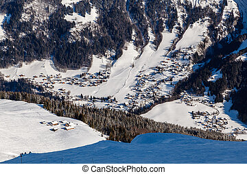 vista aérea, ligado, refúgio esqui, megeve, em, alpes francês, frança