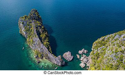 vista aérea, paisagem, de, ilha