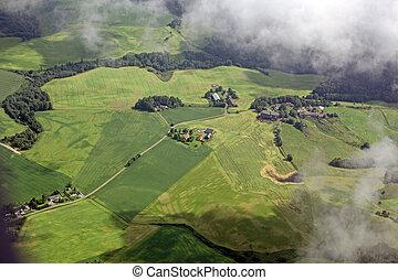 vista aérea, sobre, a, cidade pequena