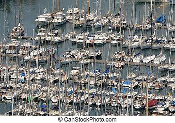 vista aérea, sobre, marina, em, barcelona, espanha