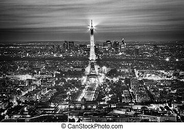 vista., aéreo, mostrar, luz, eiffel, paris, france., pretas,...