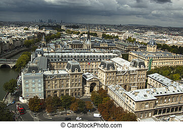 vista, aéreo,  Paris, França