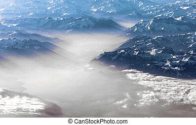 vista, a, montagne, di, alpi