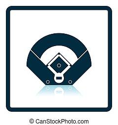 vista aerea, campo baseball, icona