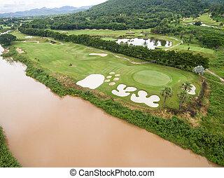 vista aerea, di, bello, campo golf