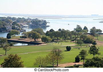 vista aerea, di, campo golf