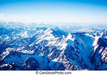 vista aerea, di, il, montagne