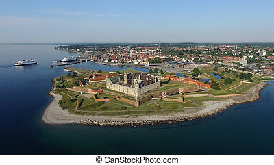 vista aerea, di, kronborg, castello, danimarca