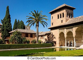 vista, alhambra, granada, partal, spagna