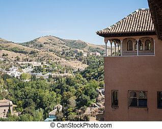 vista, alhambra, granada, spagna, giardini