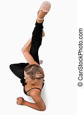 vista ambientale, ballerino, stiramento