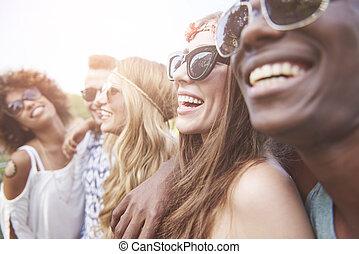 vista, amigos, viajando, carnaval, lado